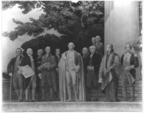 Photograph of Center Section of the Mural, The Constitution, by Barry Faulkner, 10/27/1936