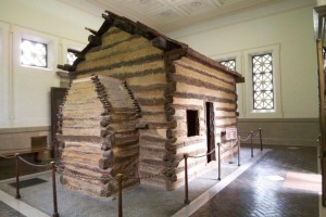 Log cabin at one time believed to be the place where Abraham Lincoln was born.