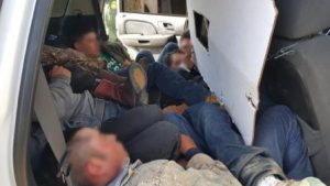 Illegal immigrants found hidden inside phony border patrol vehicle. Courtesy Customs and Border Protection.