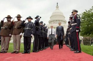 Barack Obama and President, Fraternal Order of Police, at National Peace Officers Memorial Service. Official White House Photo by Chuck Kennedy.