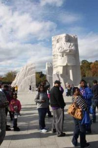 African American visitors at Martin Luther King, Jr. Memorial. Coutesy FHWA.