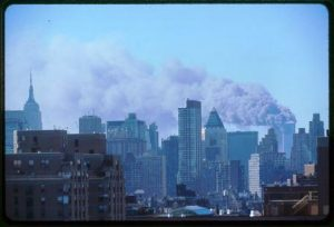 Twin towers on 9/11. Courtesy Library of Congress.