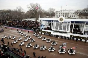 Why so much contempt for Trump? Motorcycle procession down Pennsylvania Avenue for last GOP president, George W. Bush. White House photo by Paul Morse.