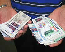 Refund fraud starts with phony identity documents. Courtesy ICE.