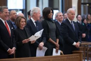 Nancy Pelosi, Bill Clinton, Michelle Obama, and Joe Biden at funeral mass for R. Sargent Shriver. Official White House Photo by Chuck Kennedy.