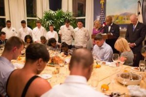 Will sensitive people permit Thanksgiving? Wounded warrior dinner. Official White House photo by David Lienemann.