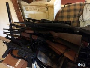 Guns seized in ICE gang surge.  ICE photo.