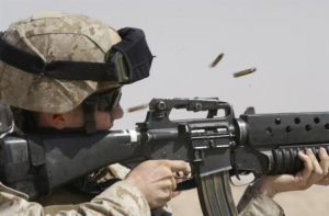 Marine with M-16. DoD photo by Petty Officer 2nd Class Brandon A. Teeples, U.S. Navy (Released).