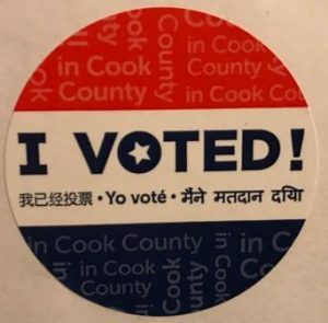 Illinois voting sticker. You don't matter, but your vote still counts.