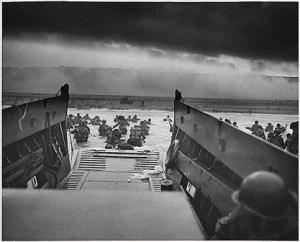 Landing in France on D-Day.