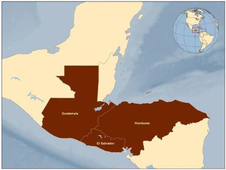 Map Honduras, Guatemala, El Salvador. Caravan from Honduras starts here. Courtesy CDC.