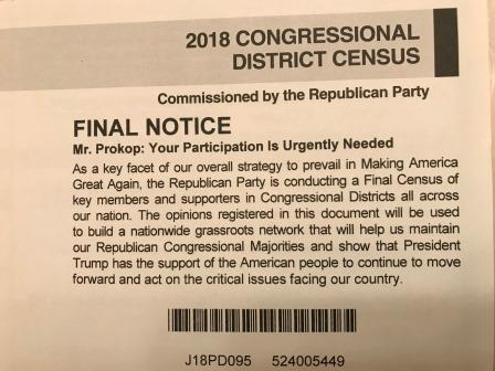 RNC mailer asking for political donations to the Republican Party.