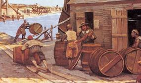 Rocco, Keith. Supplying slaves to Jamestown 1660s. NPS Image.