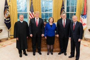 Graham stands with Trump after Barr confirmation. Official White House photo by Shealah Craighead.