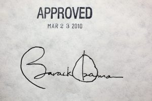 Barack Obama's signature on Affordable Care Act