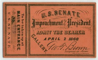 Impeachment ticket. NPS Photo.