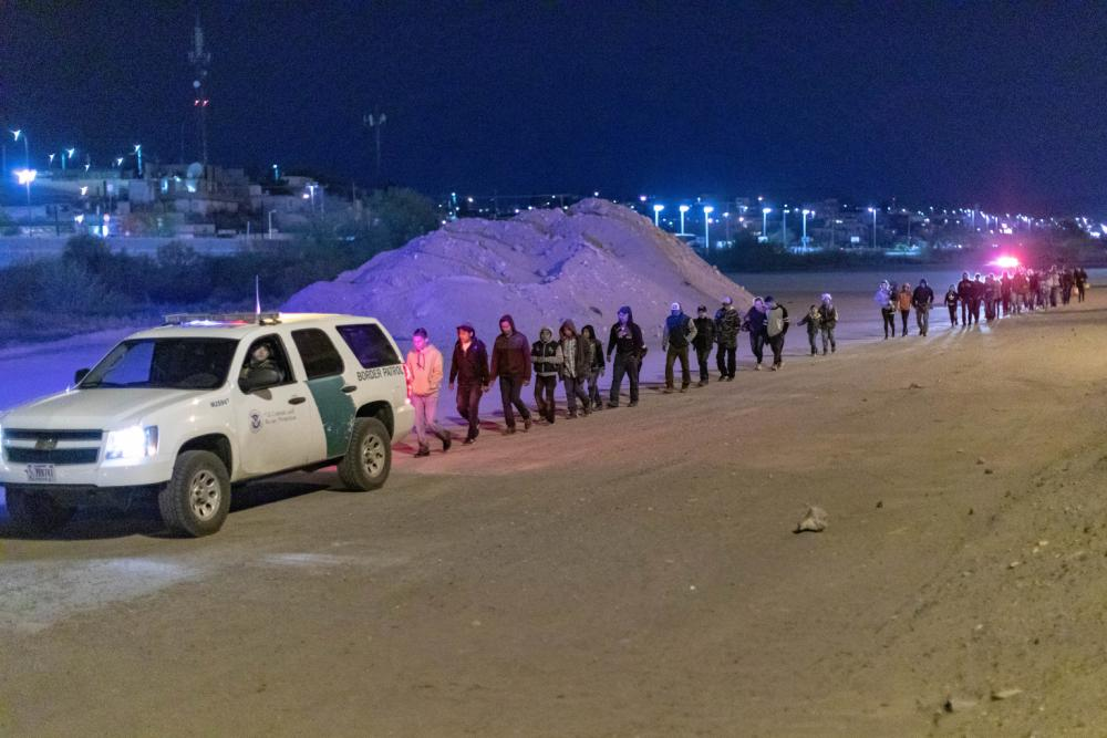 Migrants apprehended near El Paso, TX. Photo by Mani Albrecht, CBP.