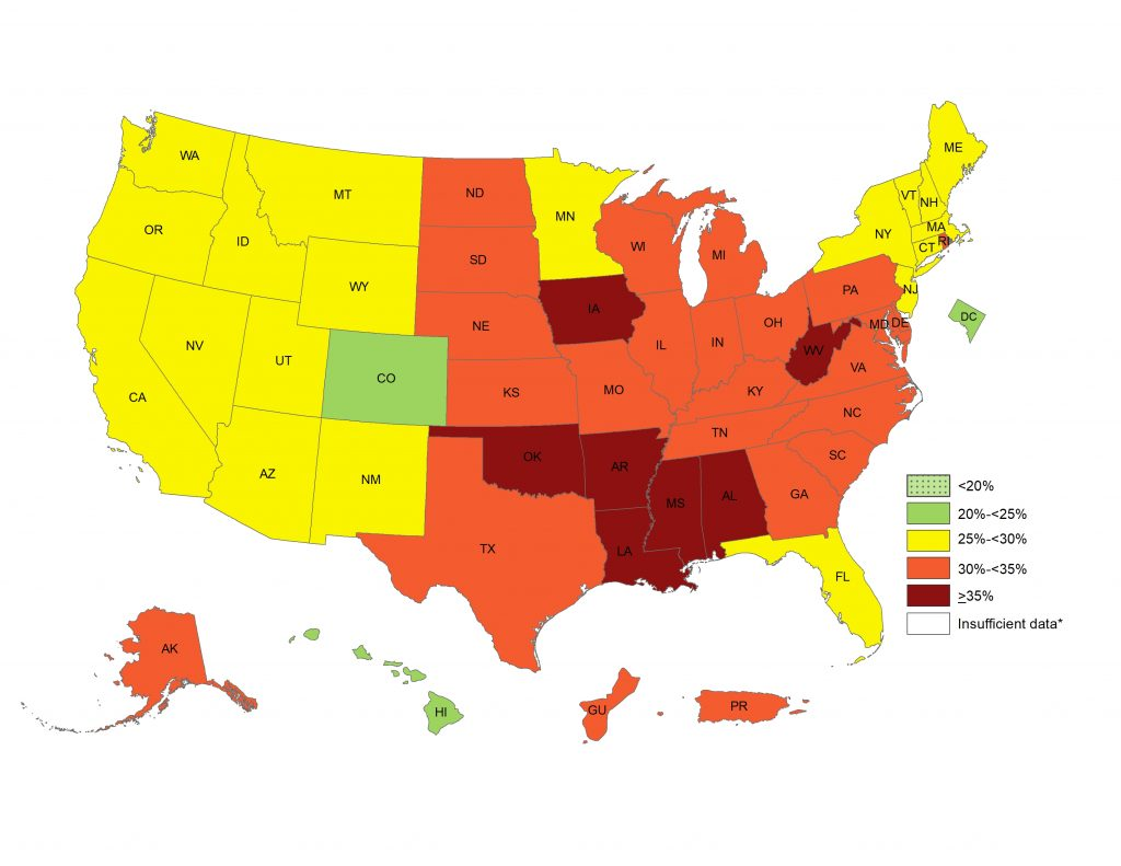 Map of adult obesity by state. CDC image.