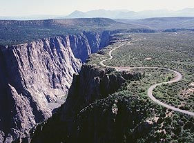 Aerial view of south rim road. NPS photo by Lisa Lynch.