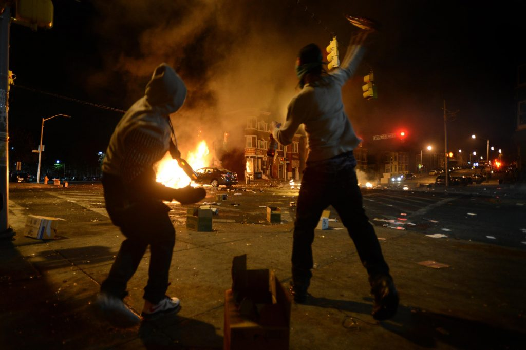 Riots in Baltimore after Freddie Gray death 2015. Staff Sgt. Kenny Holston. U.S. Dept. of Defense photo.