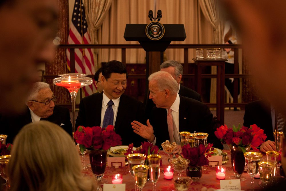 Joe Biden and Xi Jinping at State Dept. luncheon. Official White House Photo by David Lienemann.