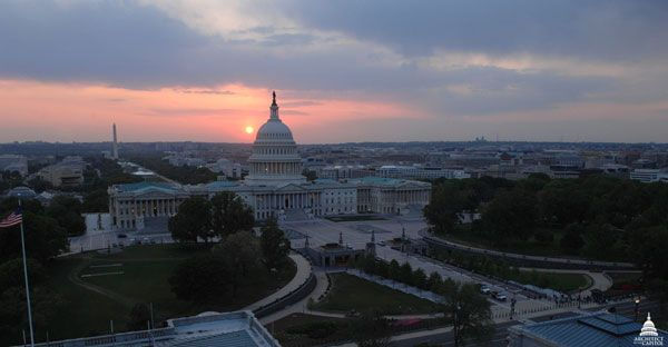 U.S. Capitol at sunset. Architect of the Capitol.