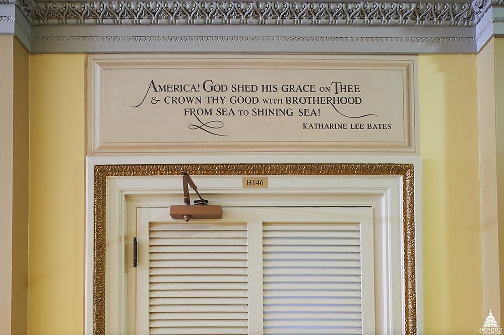 Lyrics to America the Beautiful above entrance, Cox Corridors, South Wing, U.S. Capitol. Architect of the Capitol.