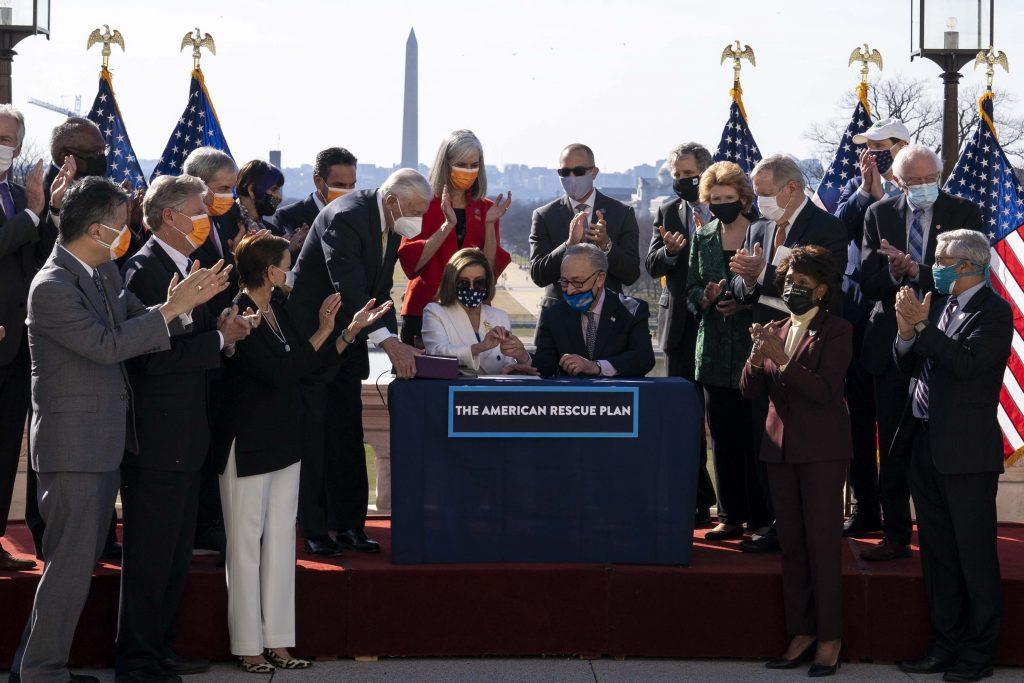 Speaker Nancy Pelosi (D-CA) and Senator Charles Schumer (D-NY) at American Rescue Plan enrollment ceremony.