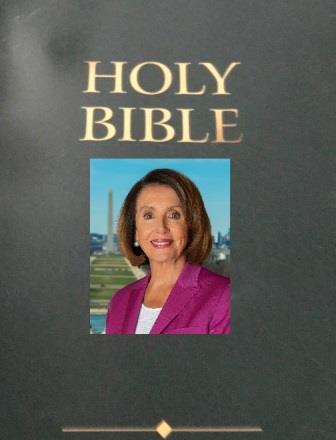 Nancy Pelosi photo superimposed on Bible
